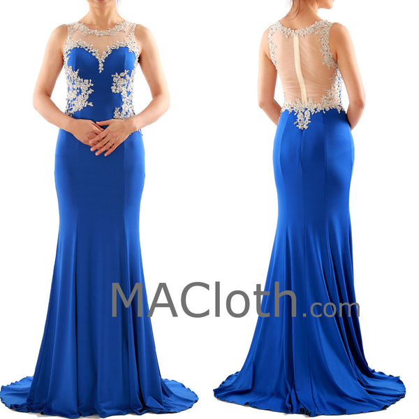 Mermaid Straps Lace Jersey Royal Blue Prom Dress, Evening Gown 160108