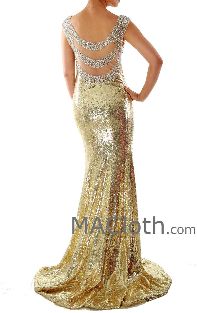 Mermaid Straps Sweetheart Long Sequin Gold Evening Prom Dress 160139 ...