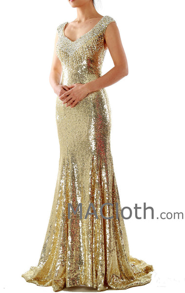 Mermaid Straps Sweetheart Long Sequin Gold Evening Prom Dress 160139