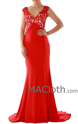 Mermaid Straps V Neck Lace Jersey Red Evening Gown 160134