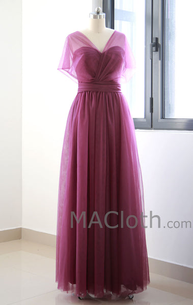 Multi Useful Tulle Burgundy Long Prom Dress, Formal Gown