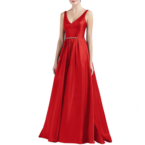 MACloth Women A Line V Neck Long Satin Prom Party Dresses Wedding Ball Gown