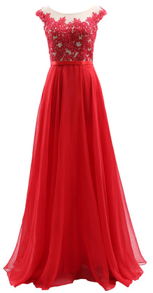 MACloth Cap Sleeves Illusion Long Prom Dress Lace Chiffon Wedding Party Dress