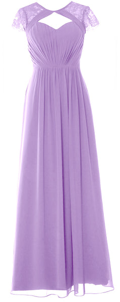 MACloth Elegant Cap Sleeves Long Bridesmaid Dress 2018 Evening Formal Gown