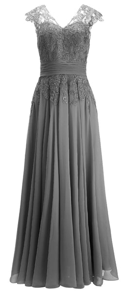 MACloth Women Maxi Mother of Bride Dresses Cap Sleeve V Neck Lace Evening Gown