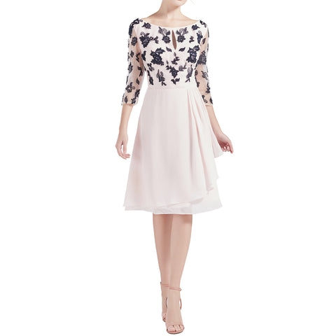 MACloth Women Boat Neck 3/4 Sleeves Short Lace Mother Bride Dresses Cocktail MoB