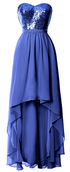 MACloth High Low Bridesmaid Dresses Sweetheart Sequin Wedding Party Gown