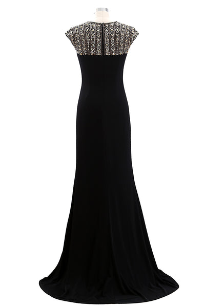 MACloth Women Cap Sleeves Beaded Formal Evening Gown Long Mother of Bride Dress