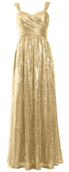 MACloth Sequin Bridesmaid Dresses Long Formal Party Evening Prom Gown Maxi