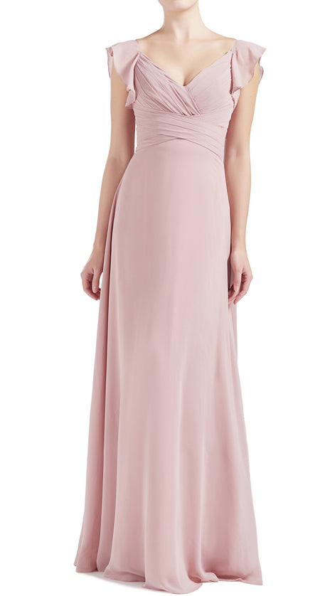 MACloth Women V Neck Ruffle Cap Sleeve Empire Waist Long Bridesmaid Dresses