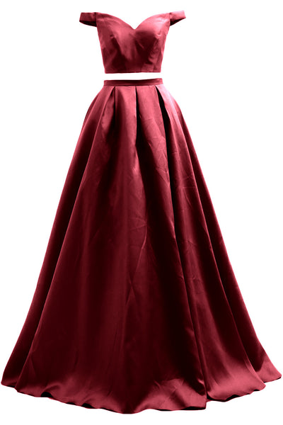 MACloth Women Prom Dresses Two Piece Off Shoulder Formal Evening Ball Gown