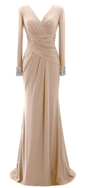 MACloth Women Long Mother of Bride Dresses Long Sleeve V Neck Evening Gown