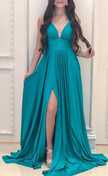 MACloth Straps V Neck Jersey Long Bridesmaid Dress Simple Formal Evening Gown