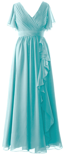 MACloth Mother of the Bride Dresses with Sleeves V Neck Long Wedding Formal Gown