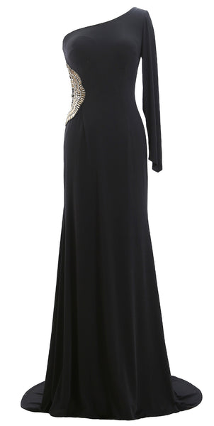 MACloth Women One Shoulder Long Prom Dress Sheath Jersey Forma Evening Gown