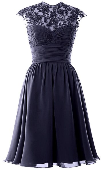 Women High Neck Cap Sleeve Lace Short Bridesmaid Dress Wedding Party Ball Gown