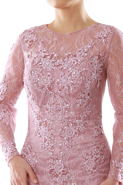 MACloth Women Long Sleeve Mermaid Lace Evening Formal Gown Mother of Bride Dress