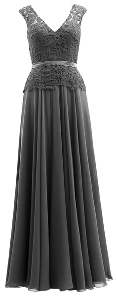 MACloth  Mother of the Bride Dresses Cap Sleeves V Neck Lace Formal Evening Gown