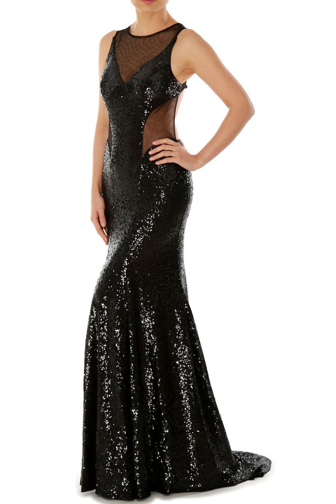 MACloth Gorgeous Mermaid Cut Out Sequin Long Prom Party Dress Evening Gown