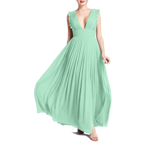 MACloth Women V Neck Ruffle Long Pleated Wedding Party Bridesmaid Dresses