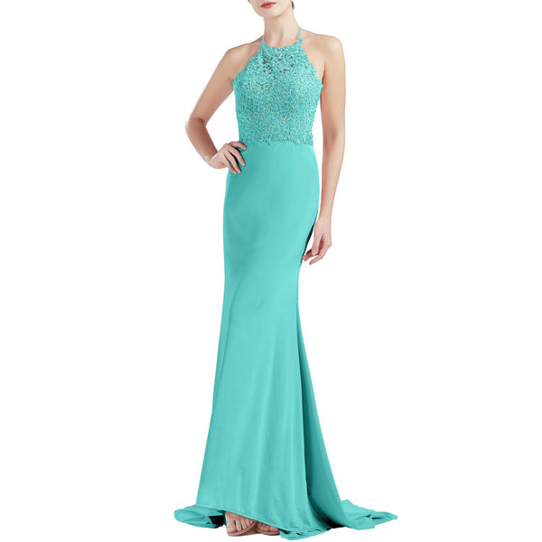 MACloth Women Sleeveless Halter Jersey Mermaid Long Prom Party Dresses Evening