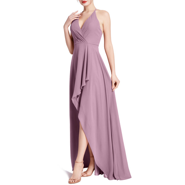 MACloth Women V Neck Halter Hi Lo Long Wedding Party Bridesmaid Dresses