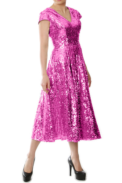 MACloth Women Midi Mother of Bride Dresses Sequin Cap Sleeves Wedding Party