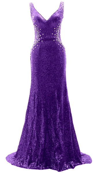 MACloth Women Prom Dresses Mermaid Sleeveless Sequin Party Evening Formal Gown