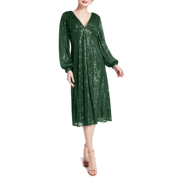 MACloth Women Tea Length Long Puff Sleeve Empire Sequin Cocktail Party Dresses