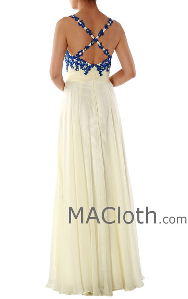 Spaghetti Straps Sweetheart Long Chiffon Lace Prom Dress 160156