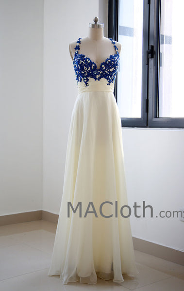 Spaghetti Straps Floor Length Lace Chiffon Royal Blue Prom Dresses MACloth