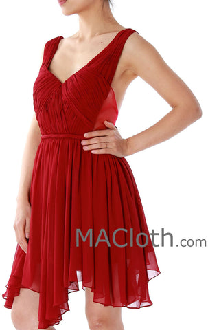 MACloth Straps V Neck Short Chiffon Prom Dress, Burgundy Homecoming Dress 160132