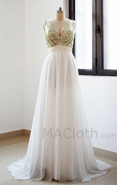 V Neck Chiffon Floor Length  Sequin Ivory Prom Dress