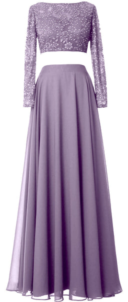 MACloth Women Lace Chiffon Formal Evening Gown 2 Piece Long Sleeves Prom Dresses