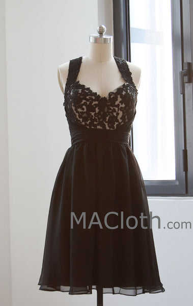 MACloth Halter Lace Mini Black Homecoming Dress, Short Prom Gown, Little Black Dress 160142