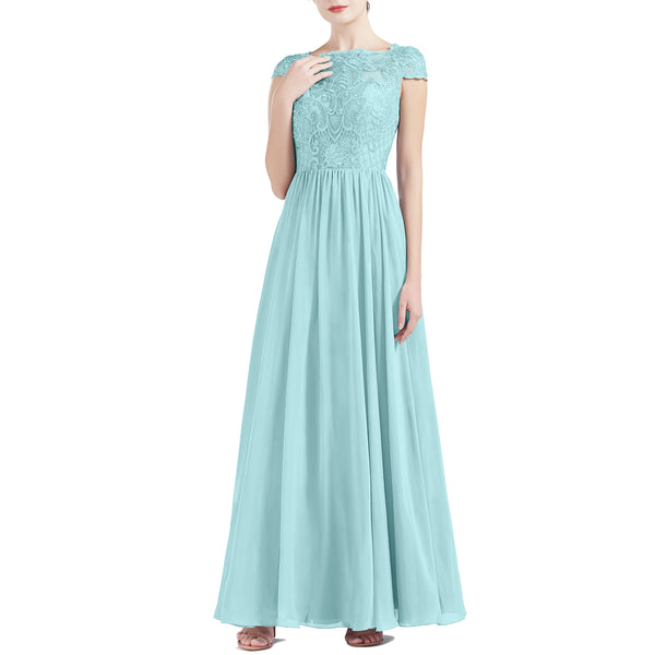 MACloth Women Cap Sleeve Scoop Lace Long Wedding Mother Bride Dresses Formal