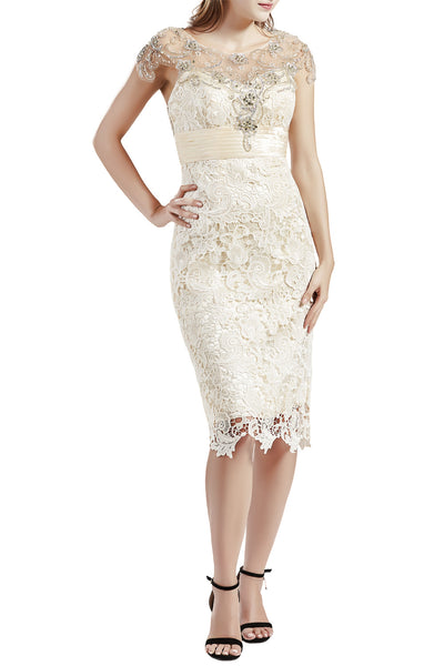 MACloth Women Short Lace Mother Bride Dresses Boat Neck Wedding Evening Attire
