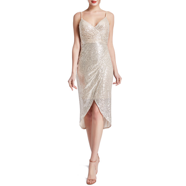 MACloth Women Spaghetti Strap Sweetheart HiLo Wrap Sequin Cocktail Party Dresses