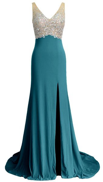 MACloth Elegant Mermaid V Neck Long Prom Dress Jersey Formal Party Evening Gown