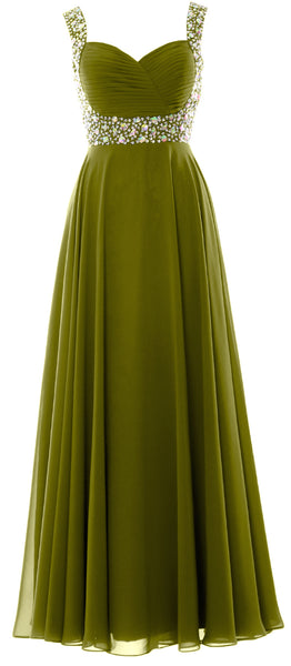 MACloth Women Straps Crystal Chiffon Long Prom Wedding Party Dress Evening Gown