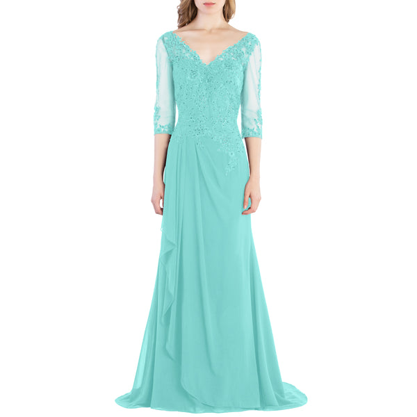 MACloth V Neck 3/4 Sleeve Lace Long Wedding Mother Bride Gown Bridesmaid Dresses
