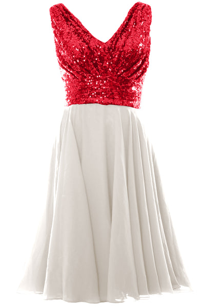MACloth Women V Neck Sequin Short Wedding Bridesmaid Dresses Mother of Bride