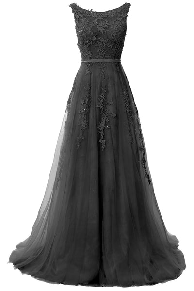 MACloth Lace Prom Dresses Boat Neck Sleeveless Lace Wedding Formal Evening Gown