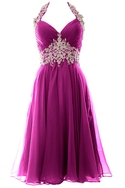 MACloth Women Halter Short Lace Beading Wedding Guest Dresses Homecoming