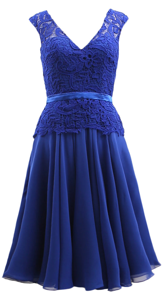 MACloth Women V Neck Lace Chiffon Party Formal Gown Midi Mother of Bride Dress