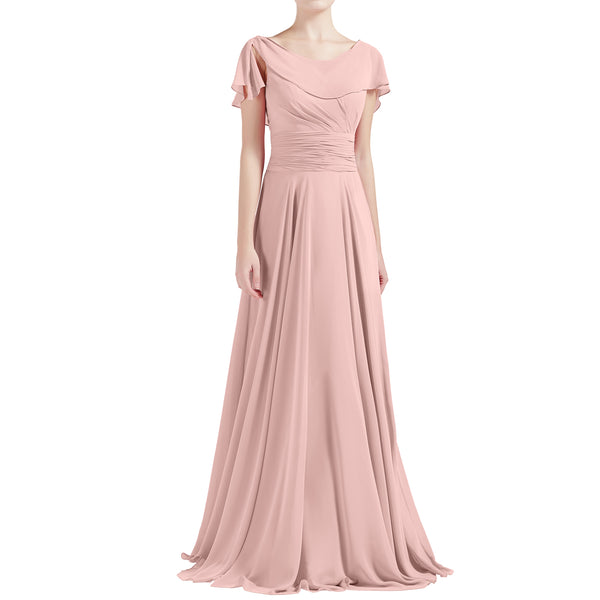 MACloth Women O Neck Ruffle Short Sleeves A Line Maxi Wedding Bridesmaid Dresses