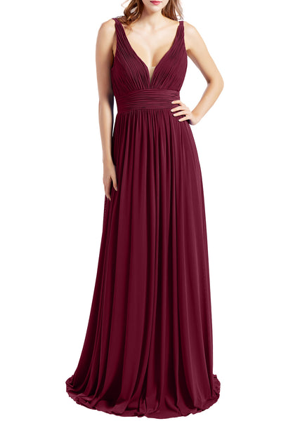 MACloth Women Sleeveless V Neck Formal Evening Gown Prom Dresses Beach Wedding