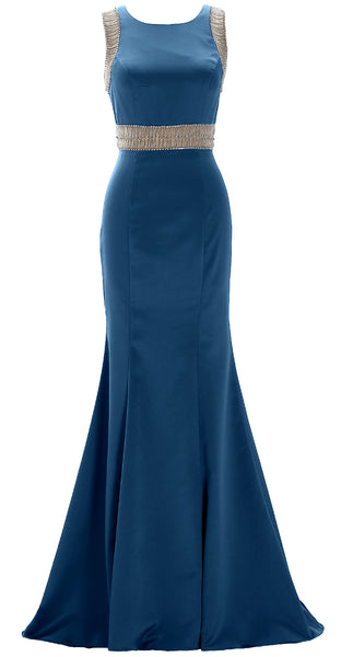 MACloth Women Boat Neck with Beaded Formal Evening Gown Sheath Satin Prom Dress