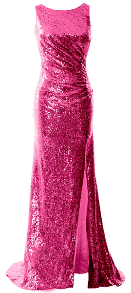 MACloth Women Sequin Long Bridesmaid Dresses Cowl Back Prom Evening Gown Split