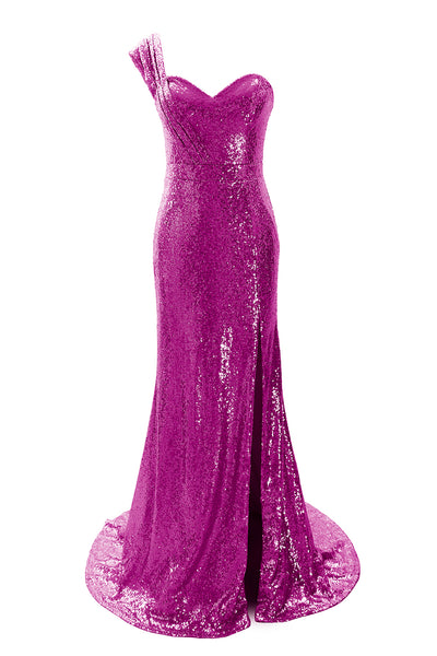 MACloth Women Sequin Bridesmaid Dress One Shoulder Long Prom Evening Gown Split